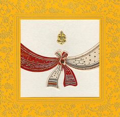 Hindu Wedding Cards HU1996 Metallic finish paper with design print in gold, Ganeshji image in top centre.