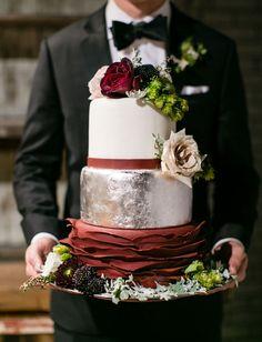 Silver + marsala autumn cake