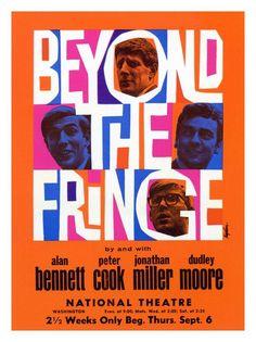 Vintage Theatre Poster - Beyond the Fringe - National Theatre - Washington - USA - 1960s - Peter Cook - Dudley Moore - Alan Bennett - Jonathan Miller