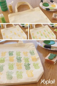 DIY Pineapple Tote Bag! Just in time for spring and super easy to make. Start with a canvas tote bag, alternate your colorful stamp pattern with fabric paint and let dry. Kick back with a Yoplait Pina Colada Parfait :)