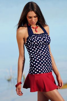 Ruched Square Halter - Nautical Blue Red Dots