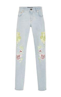 Floral Threadwork Embroidered Jeans by ROBERTO CAVALLI for Preorder on Moda Operandi