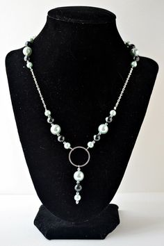 dainty teal and gray 18 inch pearl bead by oliveherjewelry on Etsy
