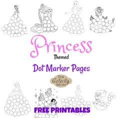 Free, printable Princess Dot Marker Pages are perfect for your little one that loves princesses and to use as a birthday party activity! Printable Activities For Kids, Kids Learning Activities, Toddler Activities, Free Printables, Summer Activities, Toddler Games, Toddler Fun, Indoor Activities, Family Activities