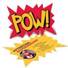 Love the ideas - confetti / tootsie pops with masks / invites   Superhero Photo Birthday Invitations -- Calling All Superheroes!