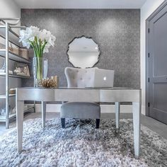 Home office ideas for women pretty apartments 56 Ideas Bureau Design, Home Office Space, Home Office Design, Office Style, Cute Office Decor, Office Ideas, Office Wallpaper, Grey Office, Shabby Chic Homes