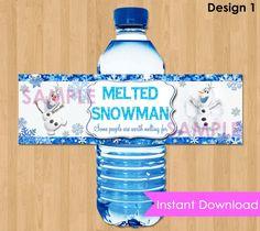 "Disney Frozen Bottle Labels - INSTANT DOWNLOAD 2.5x8""  Melted Snowman Frozen Water Bottle Labels - Birthday Party Printable match Invitation"