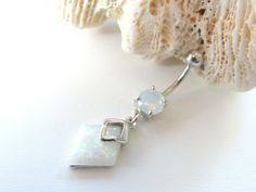 White Opal Belly Button Ring You Choose by SeductiveBodyWorks