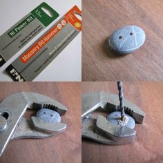 Drilling stone buttons ~ Used a much less expensive bit, rather than a diamond bit.  The 1.5mm Hi Power Bit (for metal, wood & plastic) was successful. Stated the larger masonry bit blew out the back and the front hole entries were also messy. #DIY