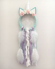 A personal favorite from my Etsy shop https://www.etsy.com/ca/listing/523988526/olivia-unicorn-dream-catcher