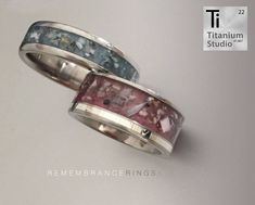 Titanium ring with resin and ashes inlay