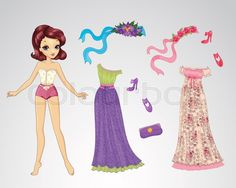 Stock vector of 'Vector illustration of paper fairy doll and set of romantic dresses'
