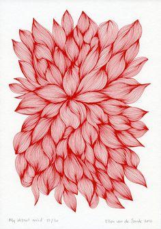Floral Silk screen print van AbsentMind op Etsy