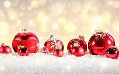Indir duvar kağıdı kırmızı top, Noel süsleri, 4k, Mutlu Yeni Yıl, Parlama, Mutlu Noeller, Noel, Yeni Yıl