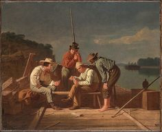 In a Quandary, or Mississippi Raftsmen at Cards Artist: George Caleb Bingham (American, Augusta County, Virginia 1811–1879 Kansas City, Missouri) Date: 1851 Culture: American Medium: Oil on canvas Dimensions: 17 1/2 × 21 in. (44.5 × 53.3 cm) Framed: 25 3/8 × 29 3/8 × 4 in. (64.5 × 74.6 × 10.2 cm) Classification: Paintings Credit Line: The Huntington Library, Art Collections