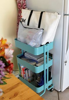 IKEA Raskog cart to store school supplies!