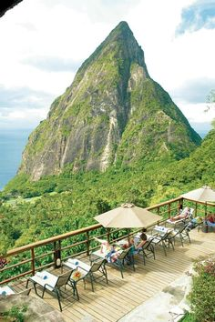 Enjoying the view from Ladera Resort, St. Lucia. LOVED St. Lucia when I was there, would die to go back.