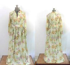 Long Sleeve Floral Maxi Dress Vintage 1960s by rileybellavintage, $40.00