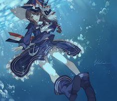Tags: Anime, Kane (Pixiv5607168), Wadanohara and the Great Blue Sea, Wadanohara, Striped Bow, Blue Headwear, Sailor Suit