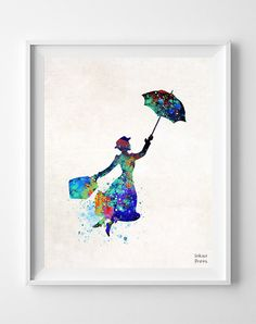 Marry Poppins, Print, Mary Poppins, Watercolor, Julie Andrews, Nursery, Baby, Room, Gift, Illustrations, Mother's day, Home Decor [NO 690]