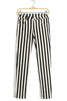 Black and white striped Skinny Jeans #goth #style #fashion