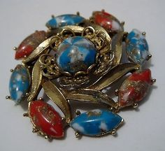 Colorful Cabochons Vintage Brooch.