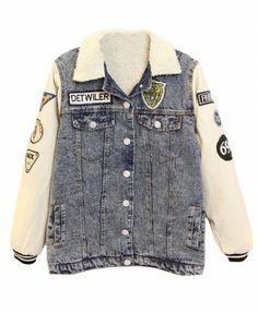 Badges Embellished Leather Splicing Sleeves Denim Jacket