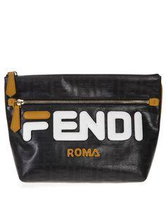 e9f206921c43 Fendi Fendi Fendi Mania Logo Pouch In Black Leather - Black multicolor -  10862202