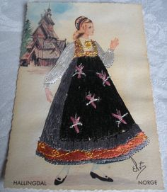 Norway, a girl from Hallingdal valley Sewing Art, Norway, Postcards, Ads, Culture, Costumes, Traditional, Disney Princess, Disney Characters