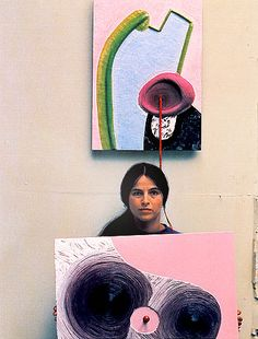 "Eva Hesse in her studio; Her art is often viewed in light of all the painful struggles of her life including escaping the Nazis, her parents' divorce, the suicide of her mother when she was ten, her failed marriage and the death of her father. Danto describes her as ""cop[ing] with emotional chaos by reinventing sculpture through aesthetic insubordination, playing with worthless material amid the industrial ruins of a defeated nation that, only two decades earlier, would have killed her."