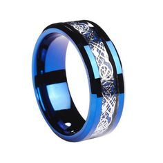 Unisex Blue Tungsten Carbide Celtic Dragon Ring