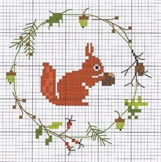 Fine Christmas Embroidery: A Selection of Fun With . Fine Christmas E Fall Cross Stitch, Cross Stitch Borders, Cross Stitch Animals, Cross Stitch Designs, Cross Stitching, Cross Stitch Embroidery, Embroidery Patterns, Cross Stitch Patterns, Hand Embroidery