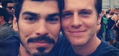 Raul Castillo and Jonathan Groff from the streets of San Francisco's Folsom Street Fair.