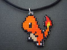 Handmade Seed Bead Charmander Necklace by Pixelosis on Etsy, $17.00