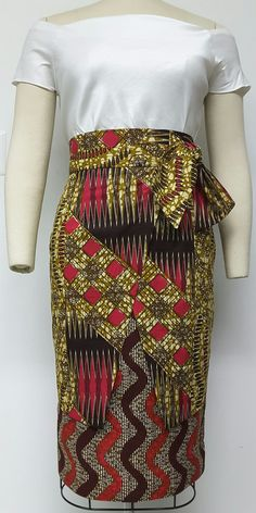 Multi African Print Layered Wrap Pencil Skirt. by NanayahStudio