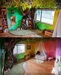 Incredible room makeover with a reading nook tree! Lots more build pics at the link.