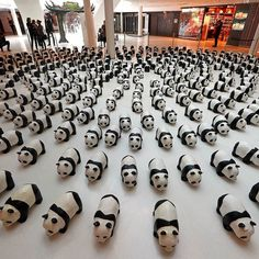 Papier-mâché pandas are displayed at a shopping mall in Paris France on April 14th 2016. Approximately 1600 panda sculptures by French artist Paulo Grangeon have appeared around the world to promote awareness of the number of giant pandas living in the wild. The '1600 Pandas' world tour was first launched by the World Wildlife Fund (WWF) in Paris in 2008. Credit: Reuters/Benoit Tessier #panda #endangeredspecies #WWF #pandasculpture by theeconomist