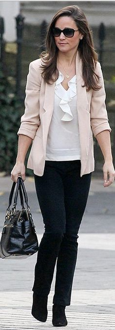 Put on a pastel pink blazer, ruffled blouse and dark pants like Pippa Middleton.
