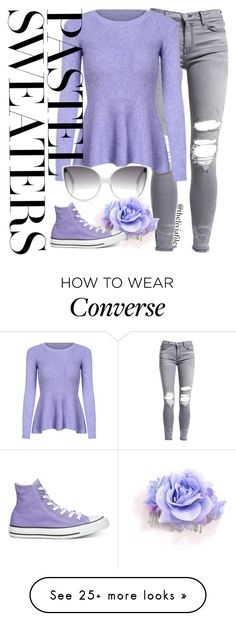 """""""Casual Day Out"""" by theliviafiles on Polyvore featuring AMIRI, Linda Farrow, Converse and pastelsweaters"""