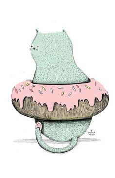 Donut cat illustration
