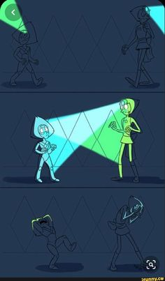 """All that plot and character and music and tenseness in the latest ep, and of course what I get out of it drawing-wise is """"man wouldn't it be hilarious if Pearl and Peridot accidentally shined their gem-flashlights into each others' eyes"""" Steven Universe Lapidot, Steven Universe Funny, Universe Art, Force Of Evil, Anime, Fanart, Nerd, Drawings, Cartoons"""