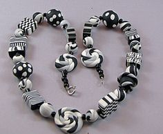 Black and White Geometric necklace. Hand crafted polymer clay beads. Debbie Martin