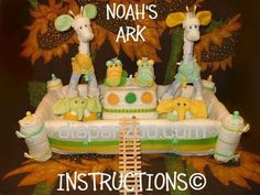 Noah's Ark Diaper Cake Instructions. Learn to make from baby items. It's MIRACULOUS. GR8 baby shower gift.