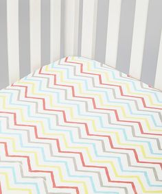 White & Red Chevron Muslin Fitted Crib Sheet
