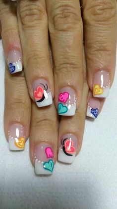 SO FUN! Adorable nail art idea for a French manicure! | ideas de unas | gel and acrylic nails