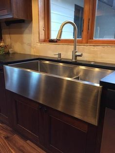 """39"""" apron front - ledge sink - double bowl - large bowl left (5LAD39) #graykitchenideas"""