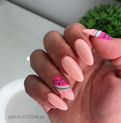 This design is so fresh, acrylic nail art, this watermelon nails are for you! fruity and summery! it will literally make your mouth water, you'll want to Nail Design Stiletto, Nail Design Glitter, Cute Acrylic Nail Designs, Cute Acrylic Nails, Gel Manicure Nails, Sea Nails, Nail Polishes, Stylish Nails, Trendy Nails
