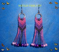 Aros / pendientes / aretes artesanales en macrame de hilo encerado estilo Flecha o Chevron , con detalle de mostacillas Handmade macrame earrings DIY