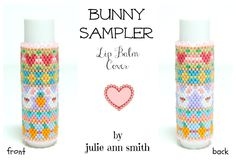 Julie Ann Smith Designs BUNNY SAMPLER Flat Odd Count Peyote Lip Balm Cover Pattern by JULIEANNSMITHDESIGNS on Etsy