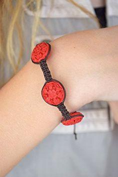 Boho ceramic bracelet Floral bead bracelet Tribal african bracelet Artisan Ethnic bracelet Shamballa bracelet Hemp bracelet Cord red jewelry adjustable bracelet Folk jewelry Wrap bracelet Gift for her